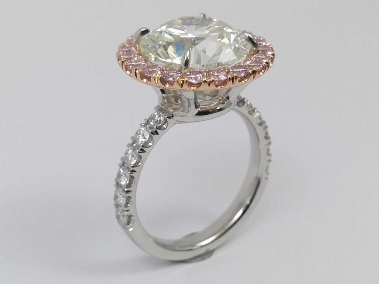 rings diamonds antique with real halo engagement bridal cut pink diamond style cushion