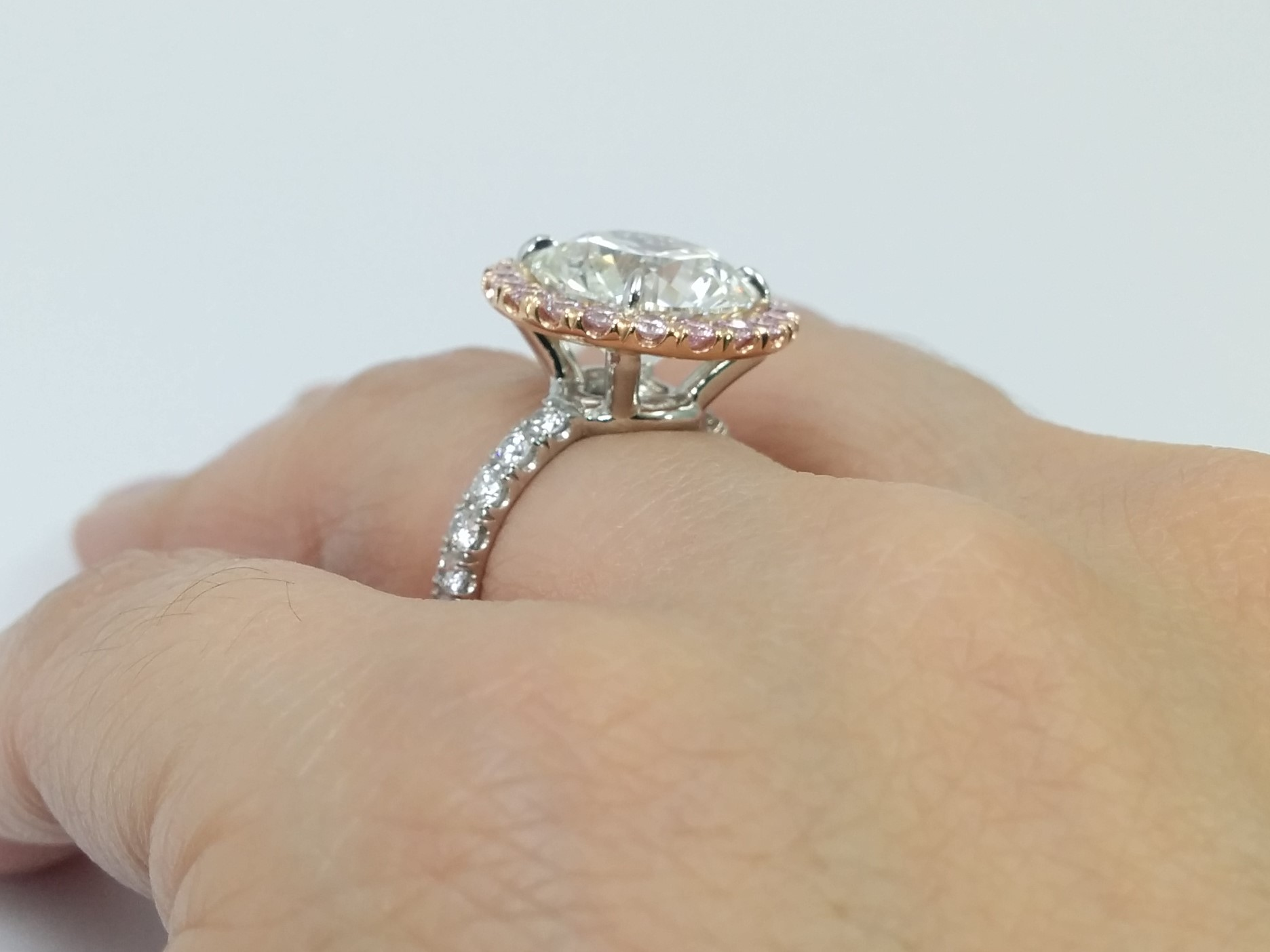 Engagement Ring Pink Diamond Halo Engagement Ring For Large Round Diamonds ES1503