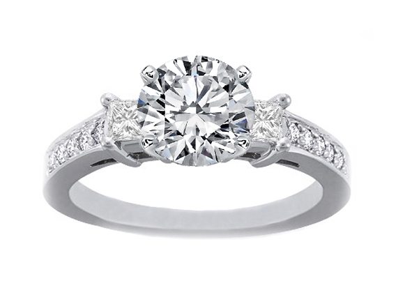 Diamond Engagement ring setting with Princess cut side stones and Pave band 0.32 tcw. In 14K White Gold