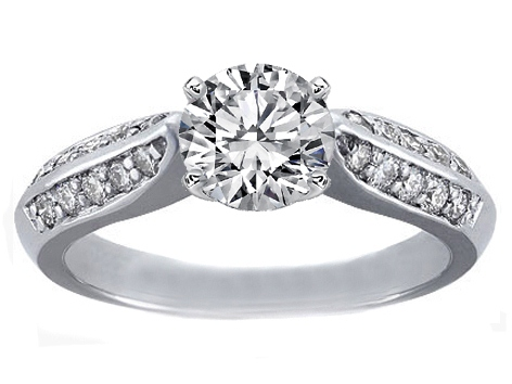 Knife Edge Pave Diamond Engagement Ring 0.30 tcw. In 14K White Gold