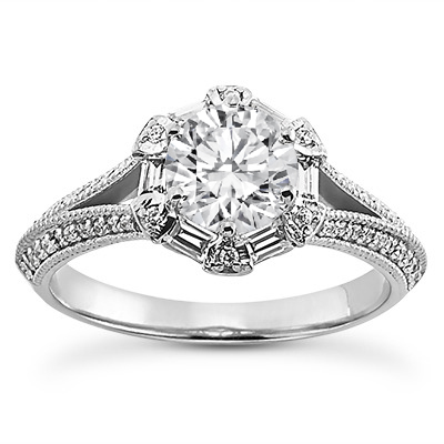 Hexagon Halo Baguette and Diamond Split Band Knife Edge Engagement Ring