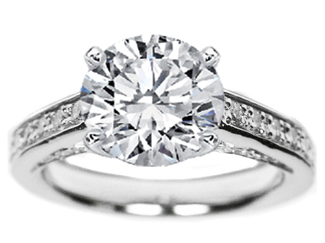 Cathedral Diamond Eternity Engagement Ring 1.13 tcw.