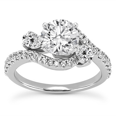 Three Stone Pear Shaped Diamond Engagement Ring