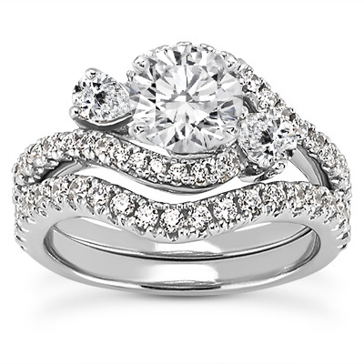 Three Stone Pear Shaped Diamond Bridal Set