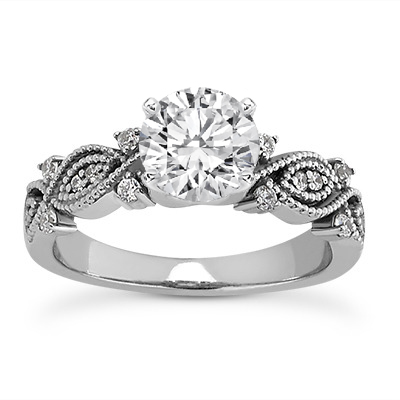 Vintage Style Diamond Vine Engagement Ring