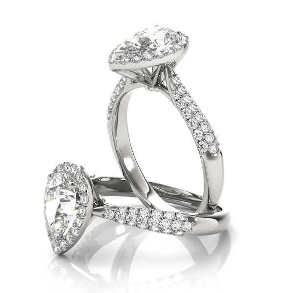 Etoil Style Pear Shaped Diamond Halo Engagement Ring