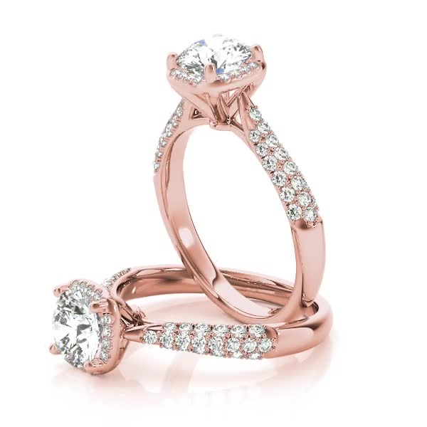 Etoil Style Round Diamond in a Square Halo Engagement Ring in Rose Gold