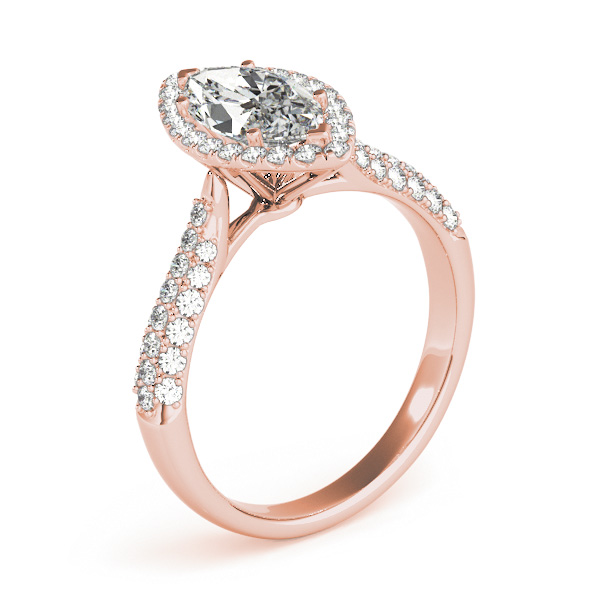 Etoil Style Marquise Diamond Halo Engagement Ring in Rose Gold