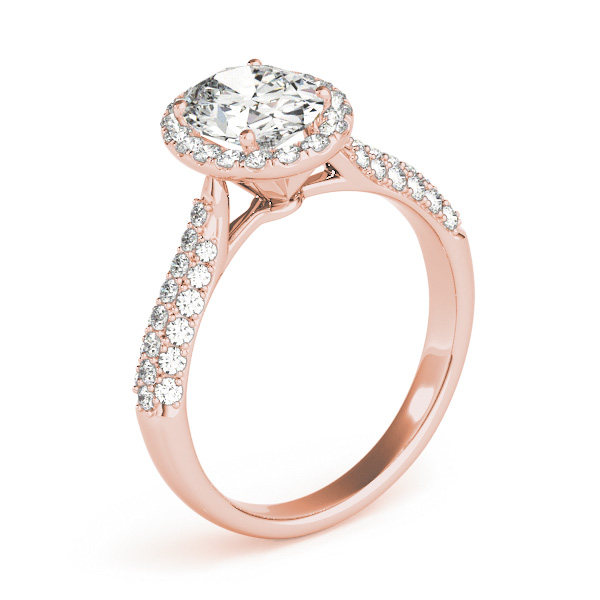 Etoil Style Oval Diamond Halo Engagement Ring in Rose Gold