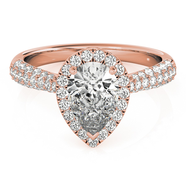Etoil Style Pear Shaped Diamond Halo Engagement Ring in Rose Gold