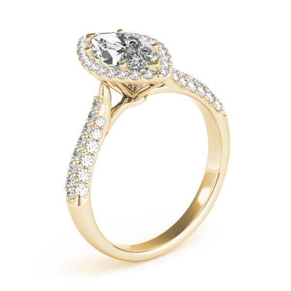 Etoil Style Marquise Diamond Halo Engagement Ring in Yellow Gold