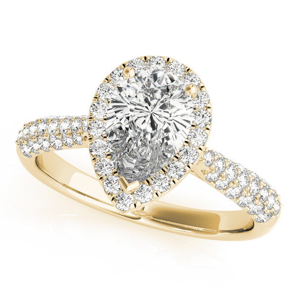 Etoil Style Pear Shaped Diamond Halo Engagement Ring in Yellow Gold