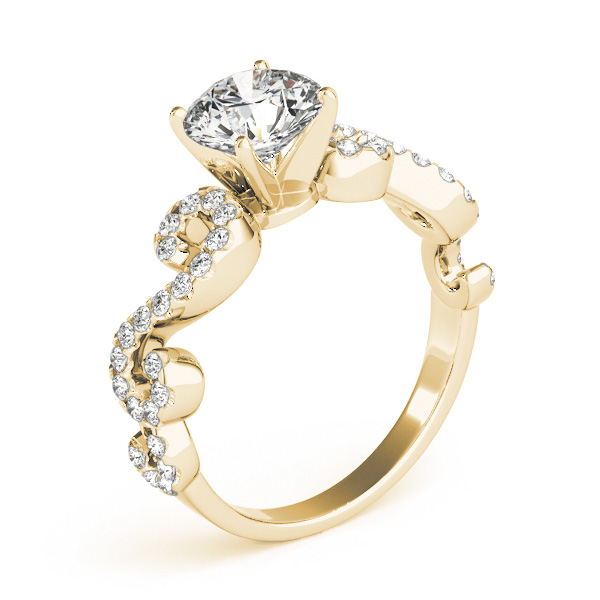 Infinity Diamond Engagement Ring in Yellow Gold