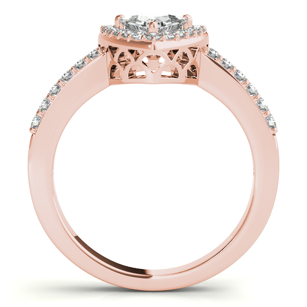Trillion Halo Filigree Engagement Ring in Rose Gold