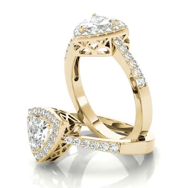 Trillion Halo Filigree Engagement Ring Yellow Gold