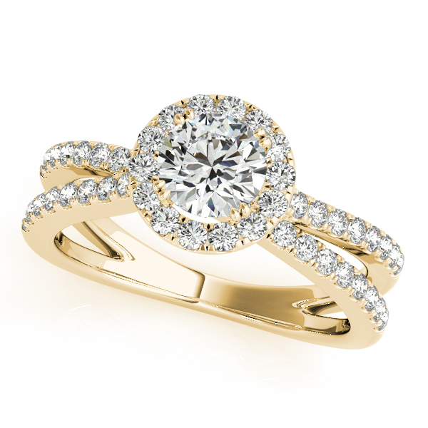 Split Band Bridge Halo Diamond Bridal Set in Yellow Gold