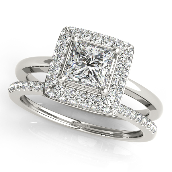 Double Halo Princess Engagement Ring and Matching Band