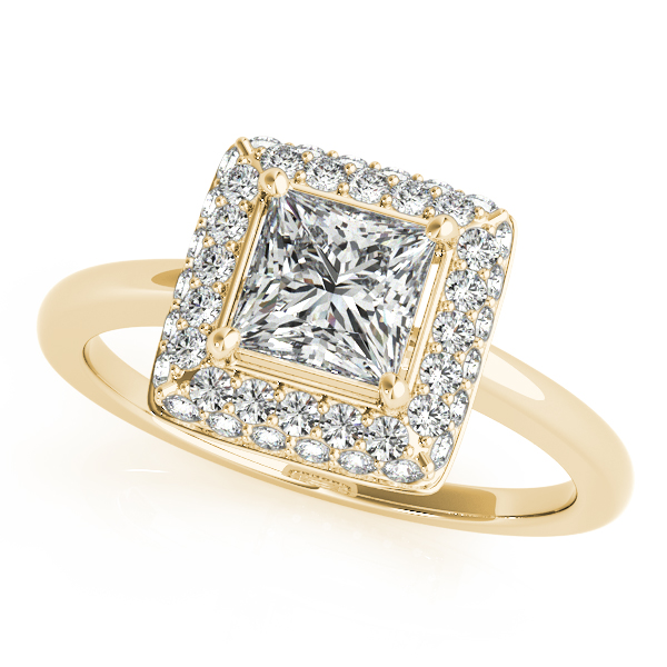 Double Halo Princess Engagement Ring and Diamond Band in Yellow Gold