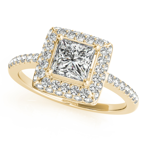 Double Halo Princess Engagement Ring and Matching Band in Yellow Gold