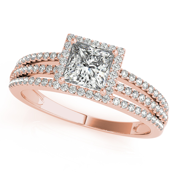 Petite Trinity Band Princess Halo Bridal Set in Rose Gold