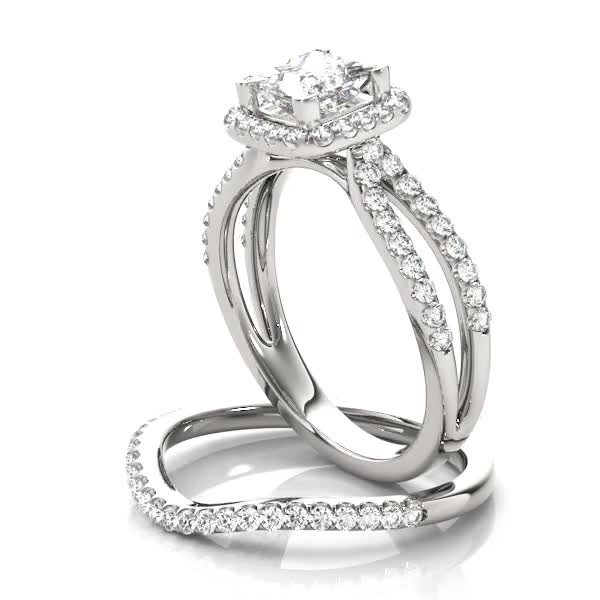 Petite Split Band Princess Halo Engagement Ring and Curved Band