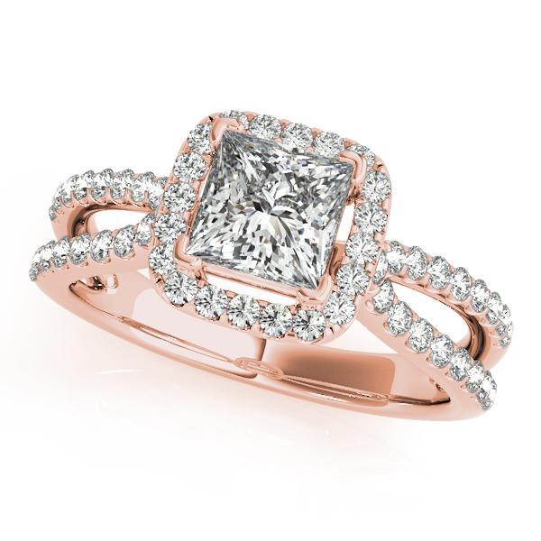 Rose gold princess cut engagement rings