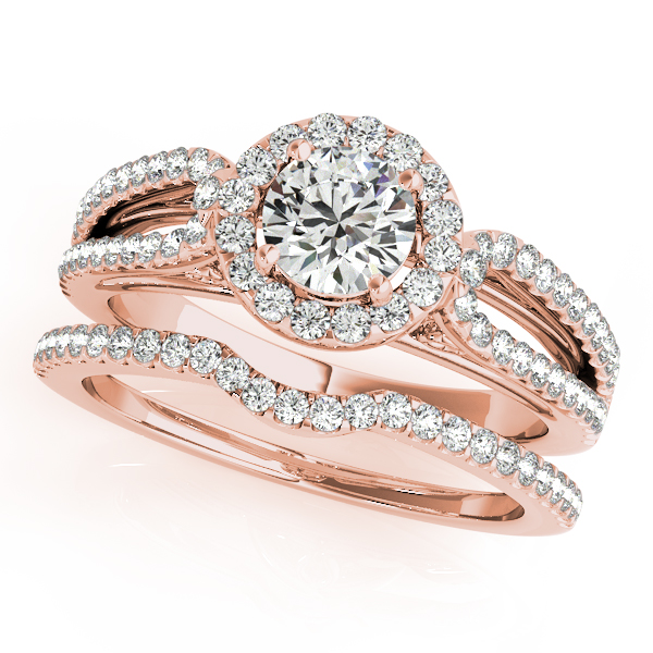 Petite Split Band Filigree Halo Engagement Ring and Curved Band in Rose Gold