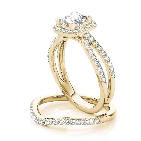 Petite Split Band Princess Halo Engagement Ring and Curved Band Yellow Gold