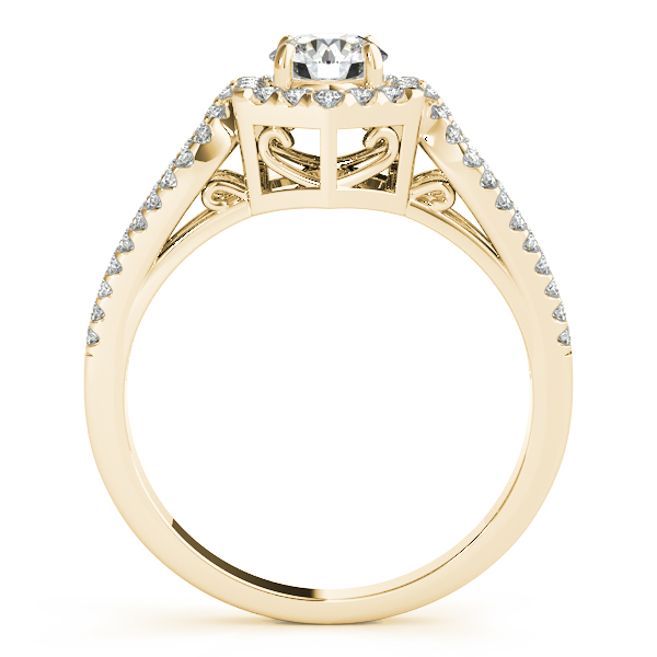 Hexagon Halo Split Band Bridal Set with Filigree in Yellow Gold
