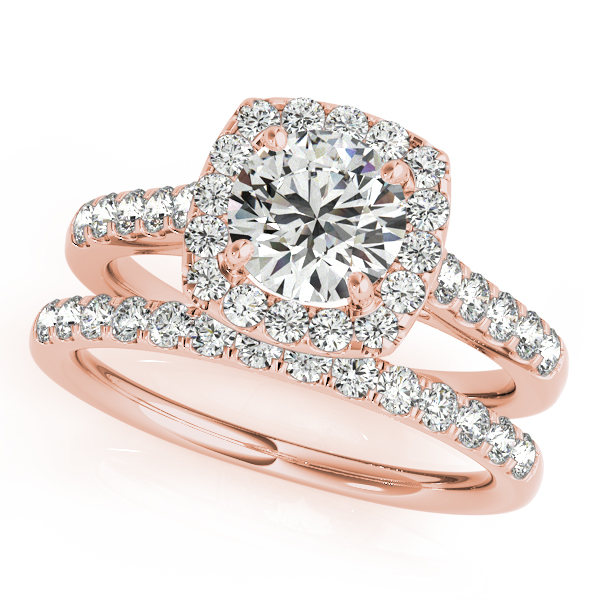 Cushion Halo Diamond Filigree Bridal Set in Rose Gold