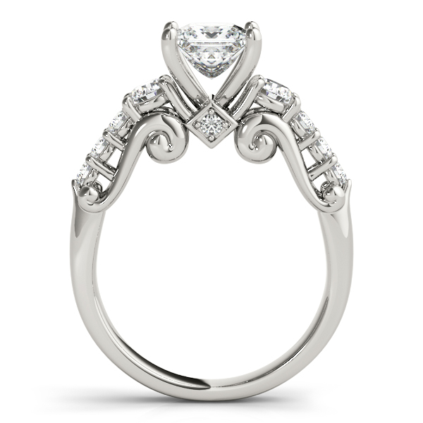 Scroll Engraved Three Stone Princess Diamond Engagement Ring