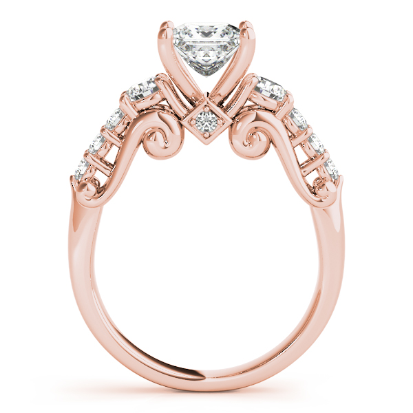 Scroll Three Stone Princess Diamond Bridal Set in Rose Gold