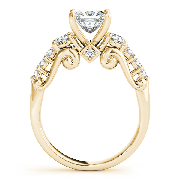 Scroll Three Stone Princess Engagement Ring in Yellow Gold