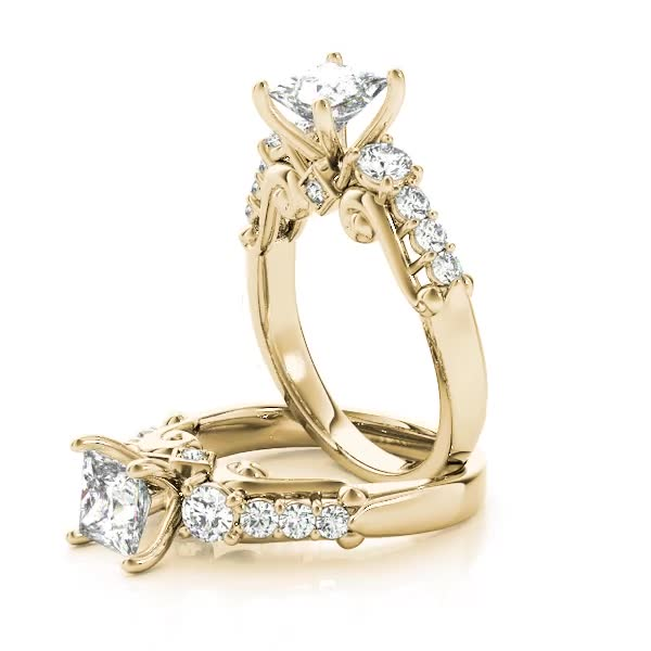 Scroll Three Stone Princess Engagement Ring Yellow Gold