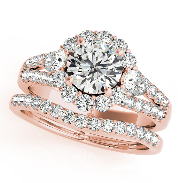 Pear Diamond Split Band Halo Bridal Set in Rose Gold