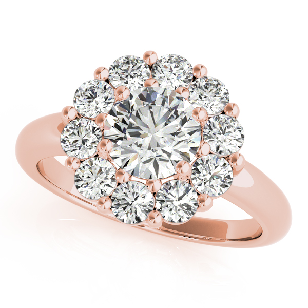 Large Halo Diamond Bridal Set in Rose Gold