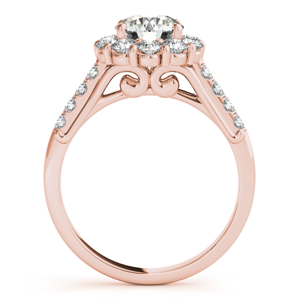 Halo Diamond Scroll Filigree Bridal Set in Rose Gold
