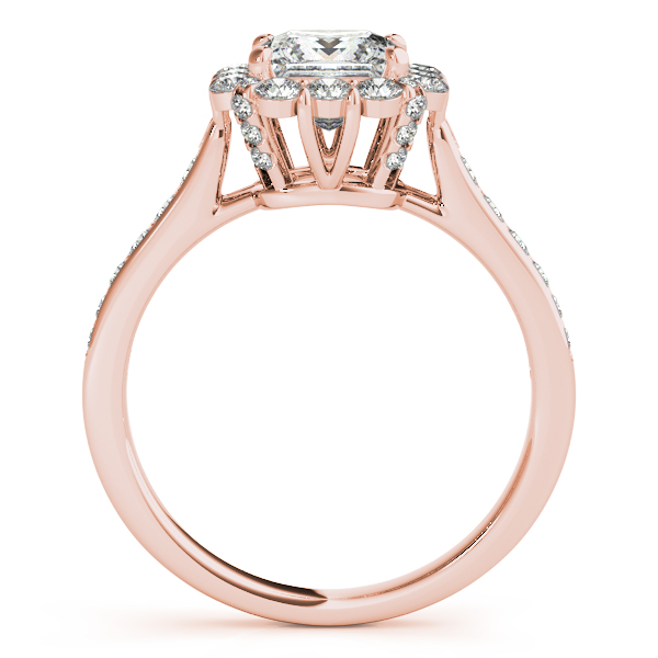 Raised Princess Diamond Halo Bridal Set in Rose Gold
