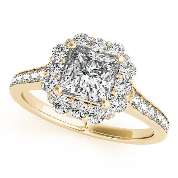Raised Princess Diamond Halo Bridal Set in Yellow Gold