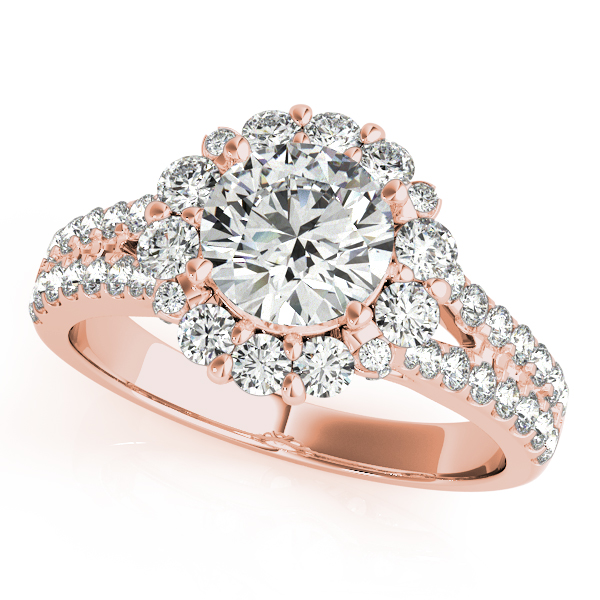 Floral Halo Split Band Diamond Bridal Set in Rose Gold