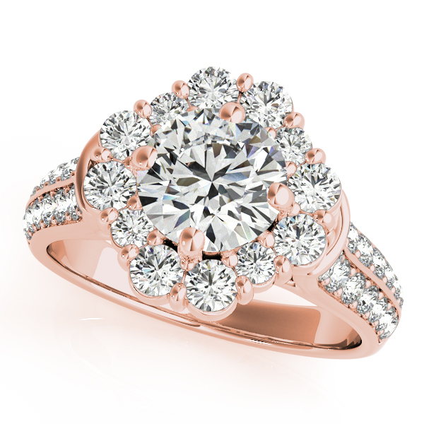 Floral Halo Knife Edge Diamond Bridal Set in Rose Gold