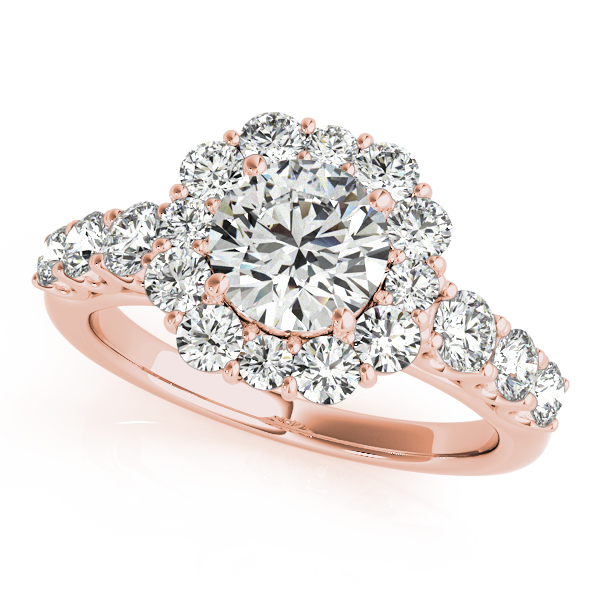 Halo Diamond Journey Band Bridal Set in Rose Gold