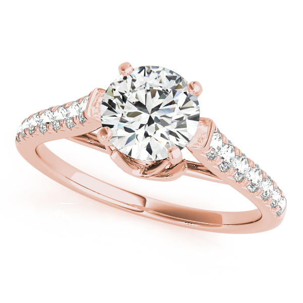Floral Graduated Diamond Band Bridal Set in Rose Gold