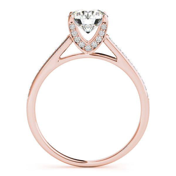 Diamond V Prong Cathedral Bridal Set in Rose Gold