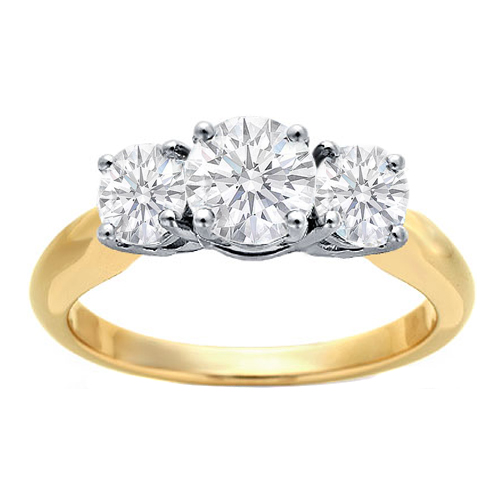 Three-Stone Round Diamond Engagement Ring Setting in 18K Yellow Gold and Platinum