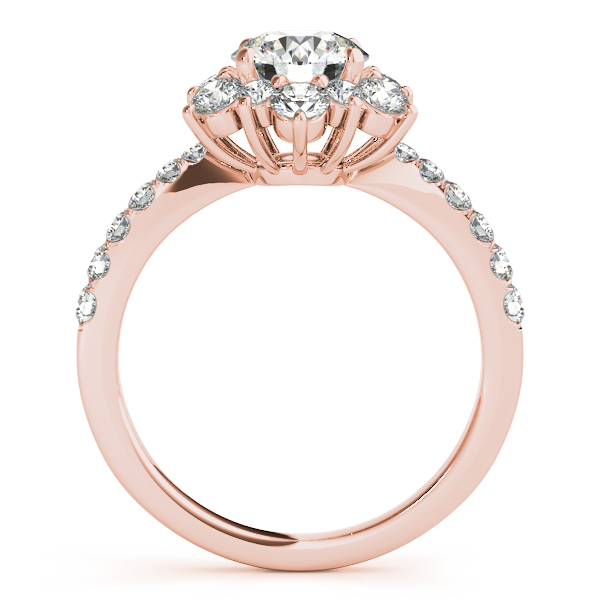 Floral Diamond Halo Journey Bridal Set in Rose Gold