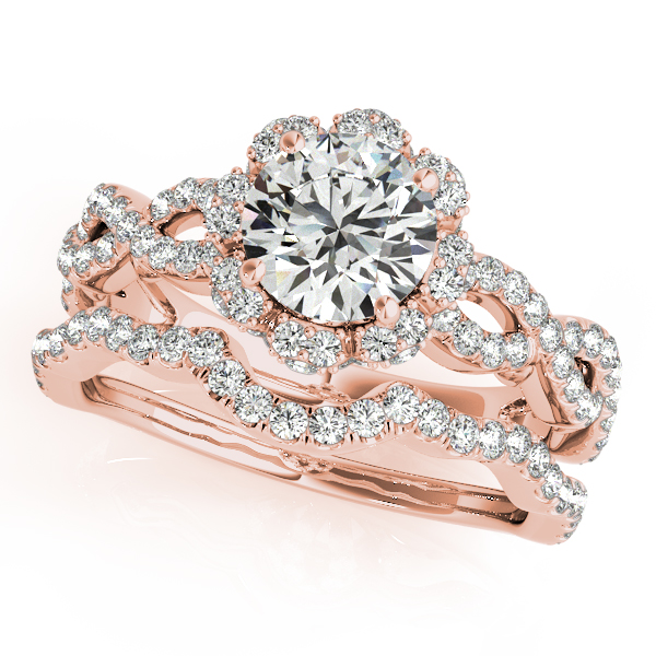 Engagement Ring Infinity Crown Diamond Vintage Bridal Set in Rose