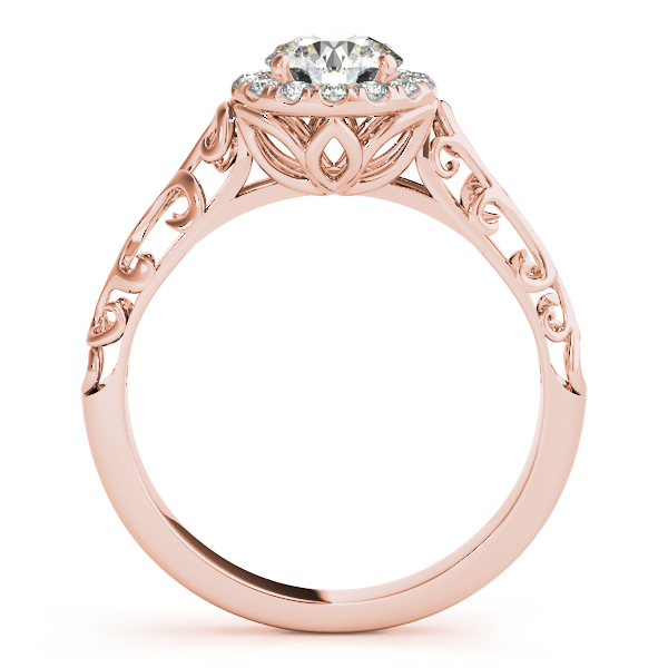 Filigree Halo Diamond Bridal Set in Rose Gold