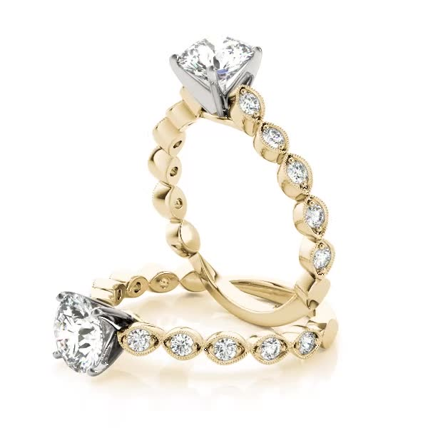 Infinity Cathedral Diamond Engagement Ring Yellow Gold