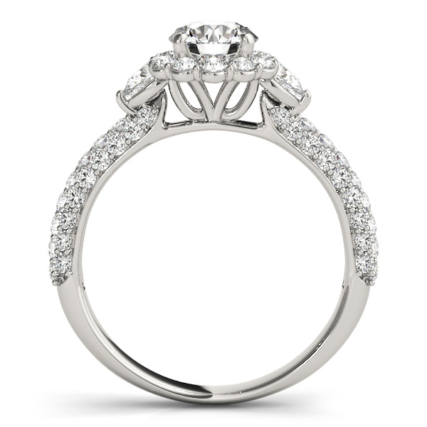 Three Stone Pear Diamond Halo Etoil Engagement Ring